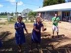 Andy and John juggling with Tongan schoolgirls