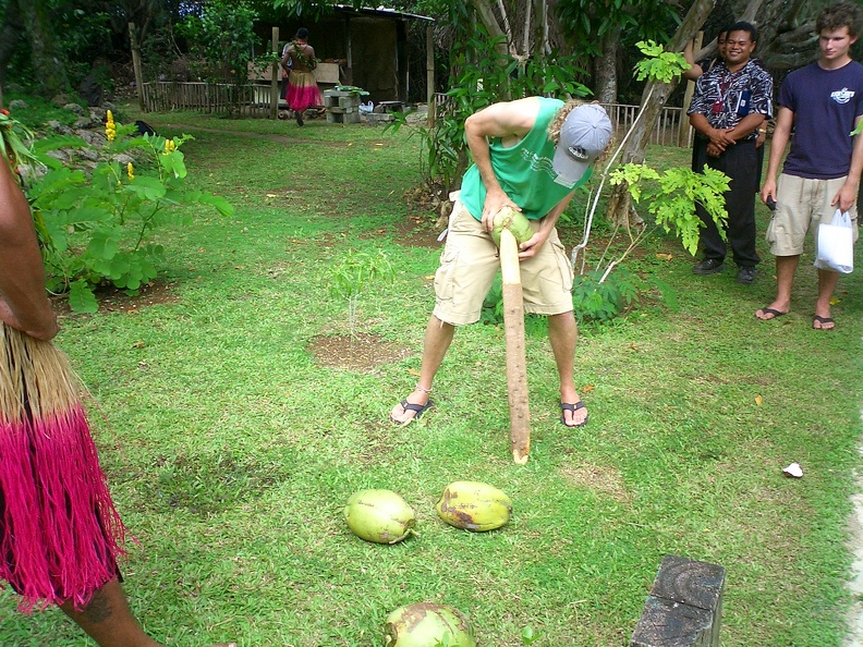 Husking a coconut 2