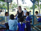 Britta with Children at Maamaloa School
